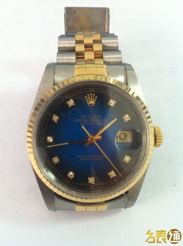 手表 钟表/两只都是16233,金色的序列号是T字头,蓝色E字头,表链是19节...
